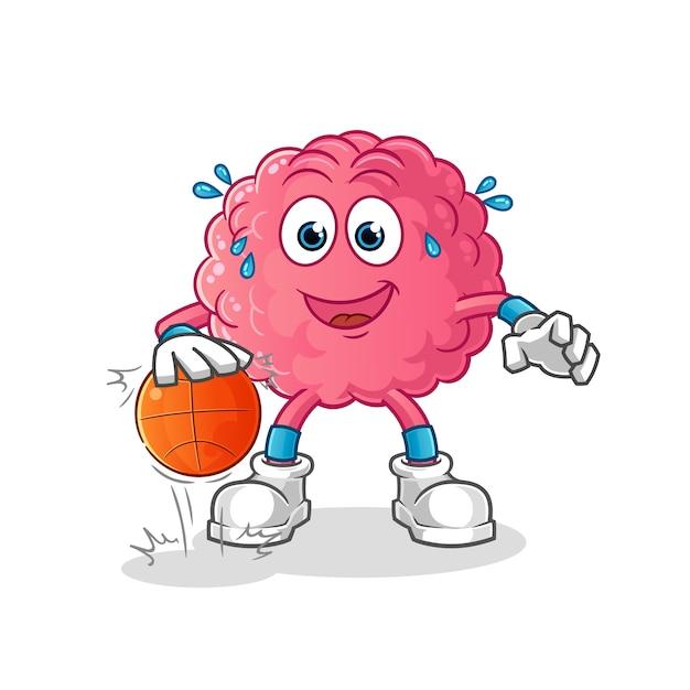 Personagem de basquete de drible do cérebro. mascote dos desenhos animados Vetor Premium