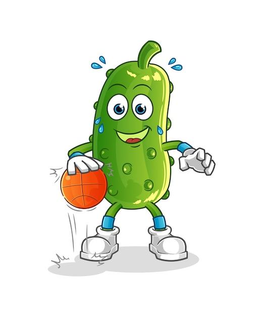 Personagem de basquete do pepino driblar. mascote dos desenhos animados Vetor Premium