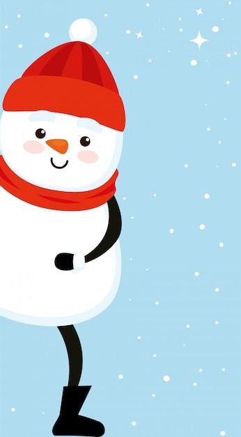 Personagem de boneco de neve bonito feliz natal Vetor grátis