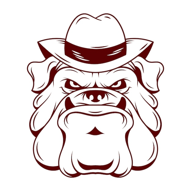 Personagem de cachorro máfia com chapéu Vetor grátis