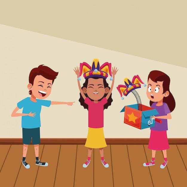 Personagem de caixa de avatar de crianças Vetor grátis