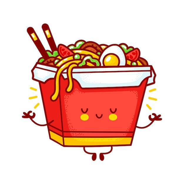 Personagem de caixa de macarrão wok feliz engraçado bonito meditar. linha plana dos desenhos animados kawaii personagem ilustração logotipo ícone. isolado no fundo branco. conceito de personagem de comida asiática, macarrão, wok box Vetor Premium