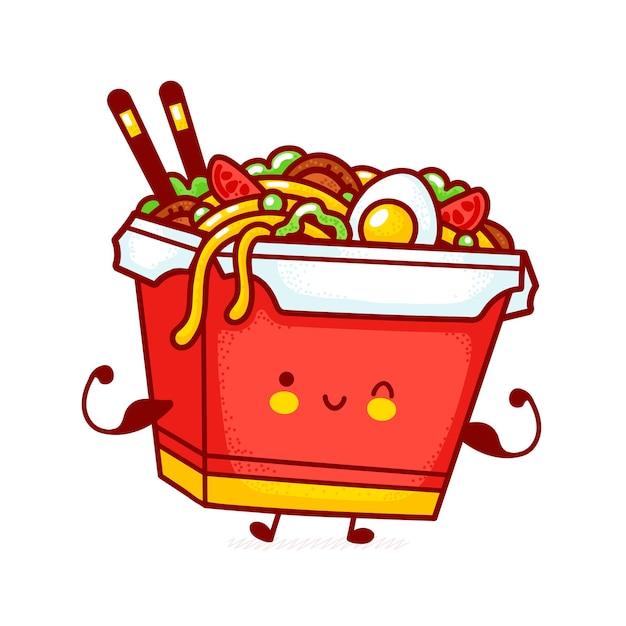 Personagem de caixa de macarrão wok feliz engraçado bonito mostrar músculo. linha plana ícone de ilustração de personagem kawaii dos desenhos animados. isolado no fundo branco. conceito de personagem de comida asiática, macarrão, wok box Vetor Premium