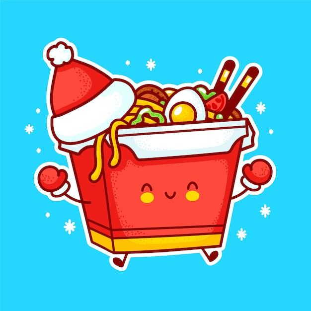 Personagem de caixa de macarrão wok feliz engraçado bonito no chapéu de natal. linha plana ícone de ilustração de personagem kawaii dos desenhos animados. isolado no fundo branco. conceito de personagem de comida asiática, macarrão, wok box Vetor Premium