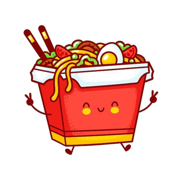 Personagem de caixa de macarrão wok feliz engraçado fofo. linha plana dos desenhos animados kawaii personagem ilustração logotipo ícone. isolado no fundo branco. conceito de personagem de comida asiática, macarrão, wok box Vetor Premium
