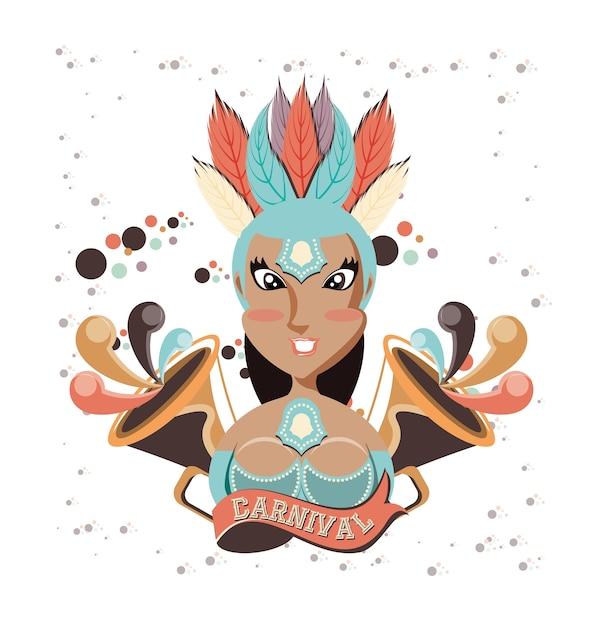 Personagem de carnaval linda mulher Vetor Premium