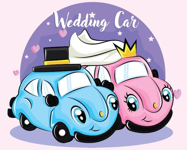 Personagem de carro bonito casamento Vetor Premium