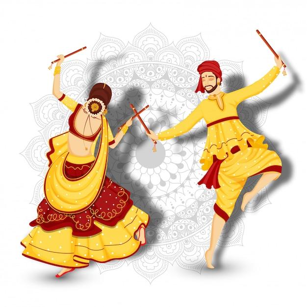 Personagem de casal dançando com dandiya sticks Vetor Premium