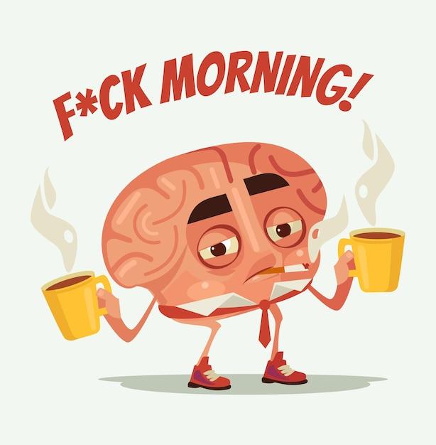 Personagem de cérebro de trabalhador de escritório cansado e sonolento beber café e fumar cigarro na manhã de segunda-feira, ilustração plana dos desenhos animados Vetor Premium