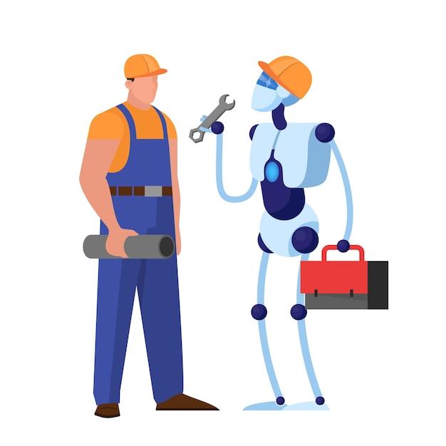 Personagem de ciborgue trabalhando com o homem. encanador robô ajuda no serviço. idéia de profissão de máquina. Vetor Premium