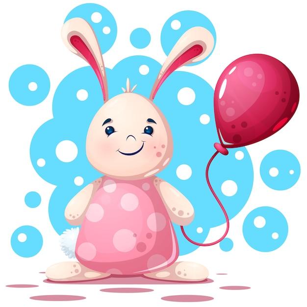 Personagem de coelho bonito, engraçado, muito bonita Vetor Premium