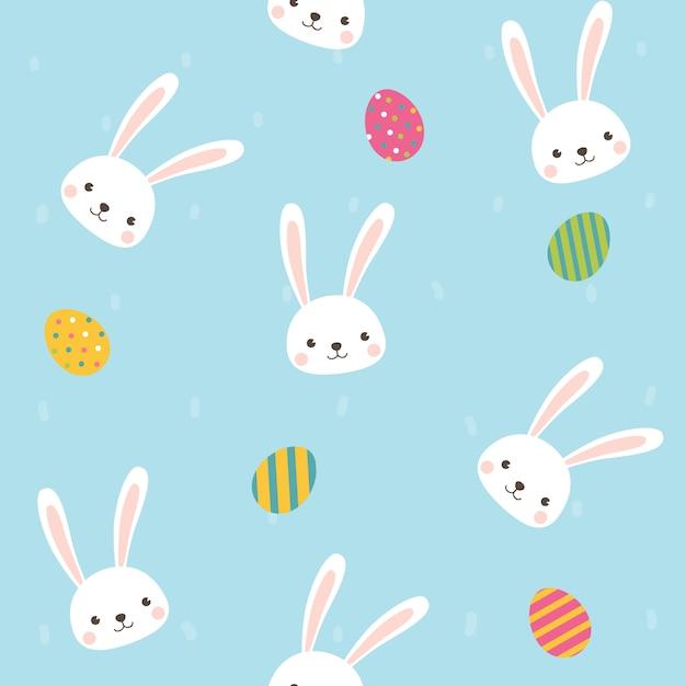 Personagem de coelho fofo com padrão sem emenda de ovos no fundo do céu azul. Vetor Premium