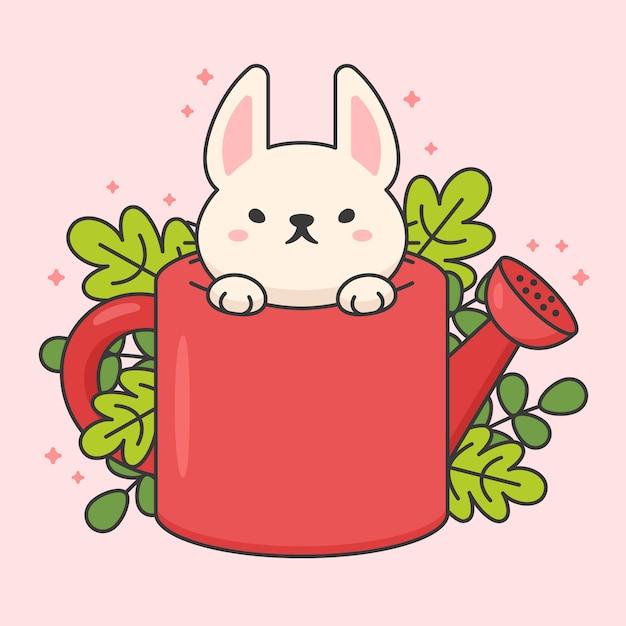 Personagem de coelho fofo em uma rega e folhas Vetor Premium