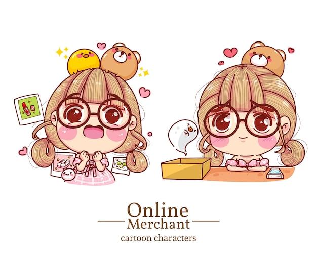 Personagem de comerciante on-line de linda garota sentindo-se animado e triste ilustração do conjunto de desenhos animados. Vetor Premium