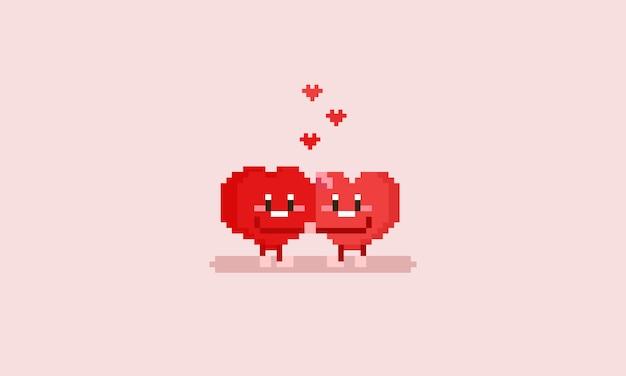 Personagem de coração de pixel fazendo abraço Vetor Premium