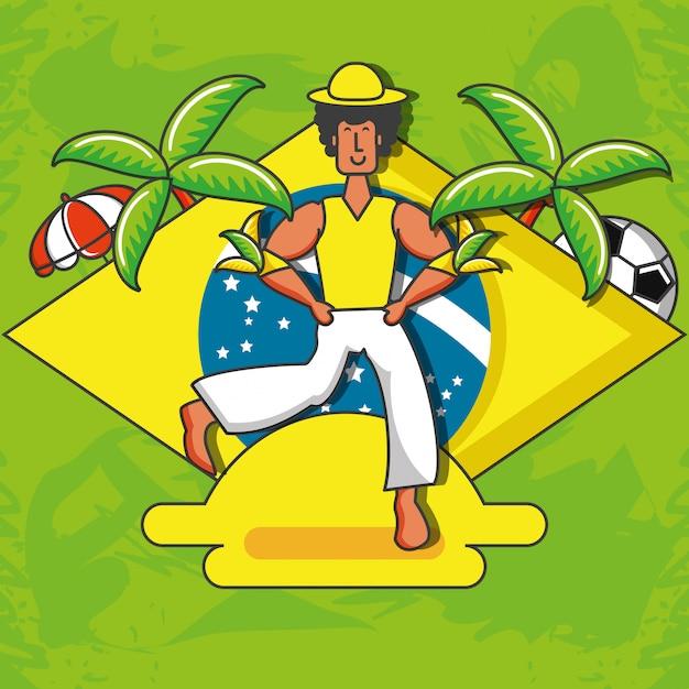 Personagem de dançarina brasileira masculina Vetor Premium