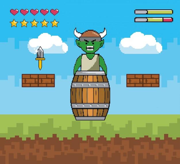 Personagem de demônio com barril e faca com barras de vida Vetor grátis