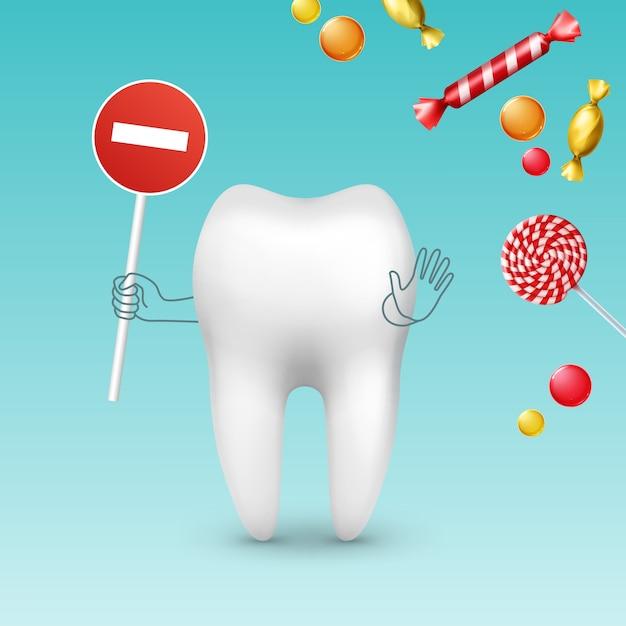 Personagem de dente vetorial com sinal de stop contra diferentes doces, bombons e pirulitos Vetor grátis