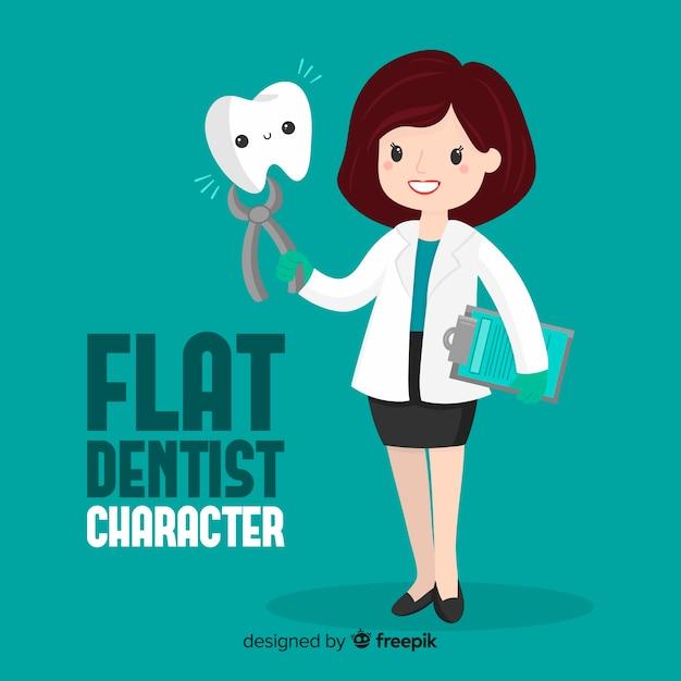 Personagem de dentista plana Vetor grátis
