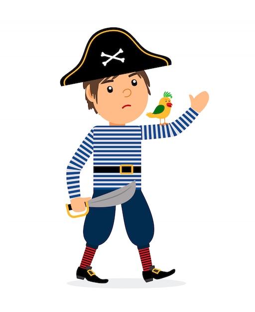 Personagem De Desenho Animado Andando De Pirata Com Papagaio E