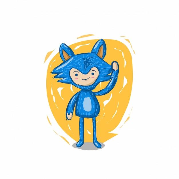 Personagem De Desenho Animado Azul Vetor Premium