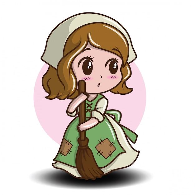Personagem De Desenho Animado Bonita Empregada Conceito De