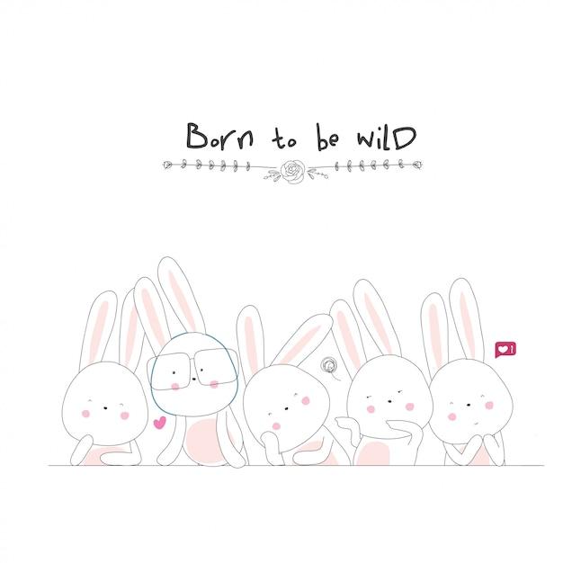 Personagem de desenho animado bonito coelho. mão desenhada vector animal Vetor Premium