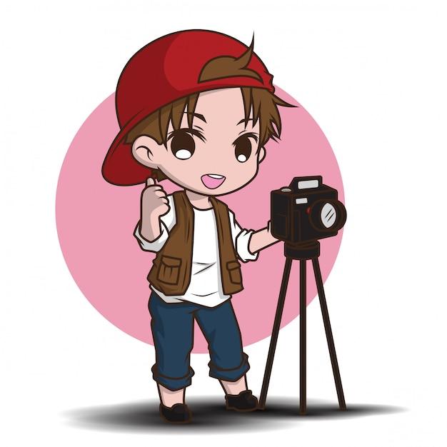 Personagem de desenho animado bonito fotógrafo. Vetor Premium