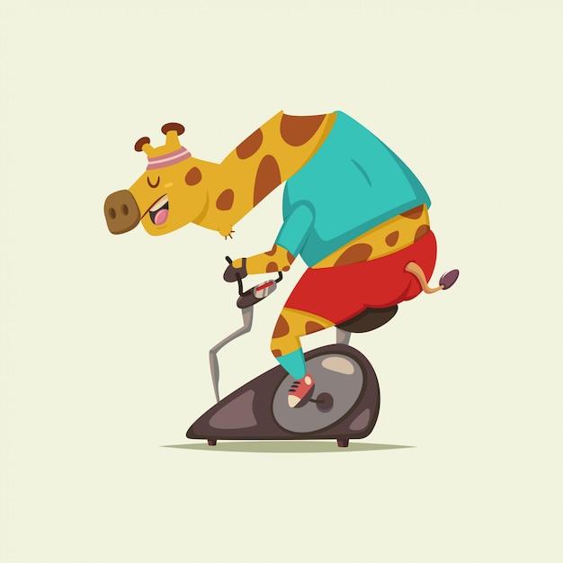 Personagem de desenho animado bonito girafa fazendo exercício em uma bicicleta estacionária Vetor Premium