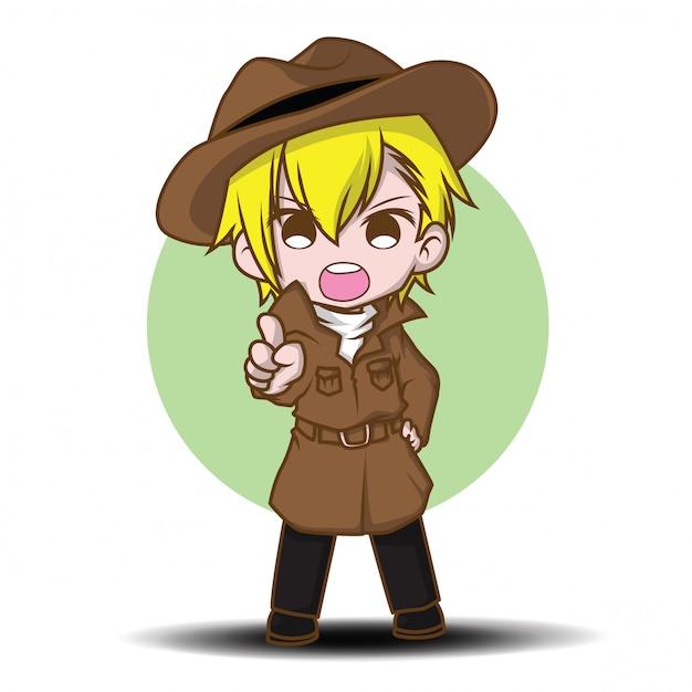 Personagem de desenho animado bonito treinador Vetor Premium