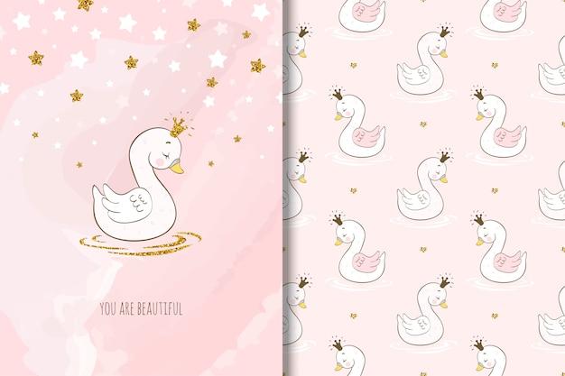 Personagem de desenho animado cisne bonito, cartão e padrão sem emenda. Vetor Premium