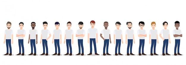 Personagem de desenho animado com a equipe de homens em t-shirt jeans branco e azul casual Vetor Premium