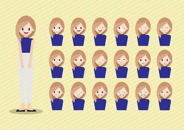Personagem de desenho animado com conjunto de cabeça de menina Vetor Premium