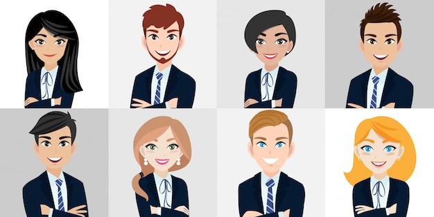 Personagem de desenho animado com homem de negócios e mulher de negócios Vetor Premium