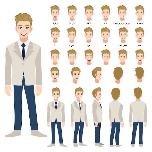 Personagem De Desenho Animado Com Homem De Negocios Em Terno Para
