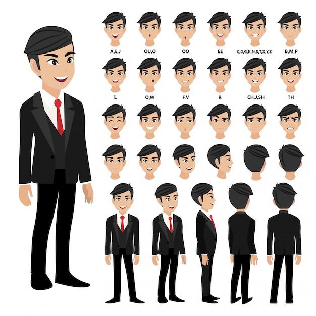 Personagem de desenho animado com homem de negócios em terno para animação. Vetor Premium