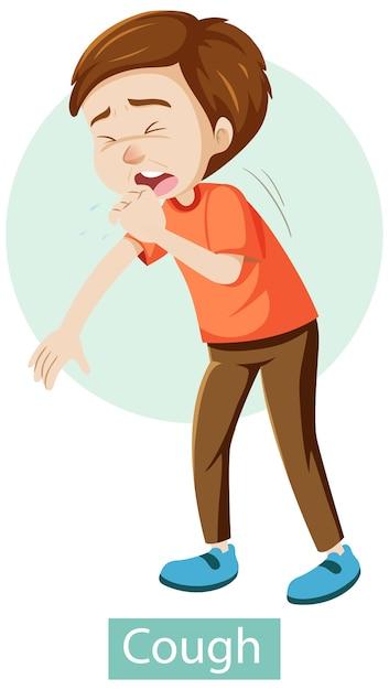 Personagem de desenho animado com sintomas de tosse Vetor grátis