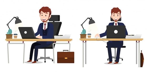 Personagem de desenho animado com vetor de personagem de trabalho do empresário Vetor Premium