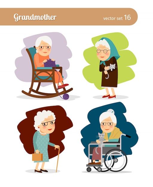 Personagem de desenho animado da avó Vetor Premium