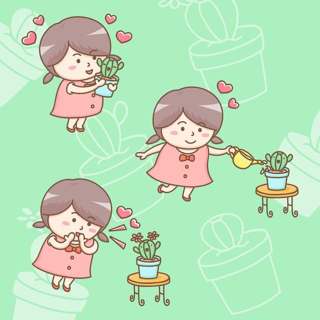 Personagem de desenho animado da linda menina crescendo e dando amor a sua planta de cacto Vetor Premium