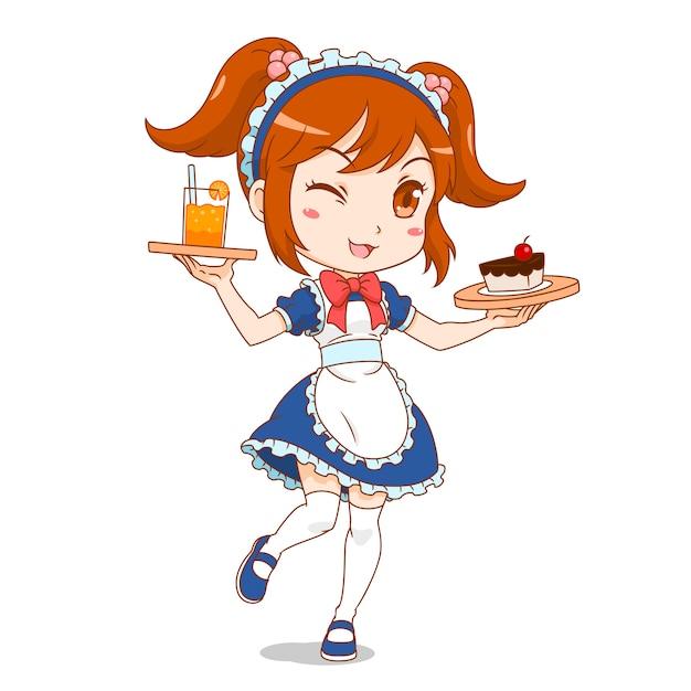 Personagem de desenho animado da menina do café de empregada. Vetor Premium