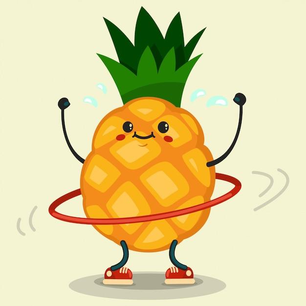 Personagem de desenho animado de abacaxi bonita fazendo exercícios com bambolê Vetor Premium