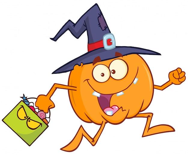 Personagem de desenho animado de abóbora bruxa engraçada Vetor Premium