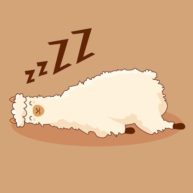 Personagem de desenho animado de alpaca preguiçosa lhama bonito sono kawaii Vetor Premium