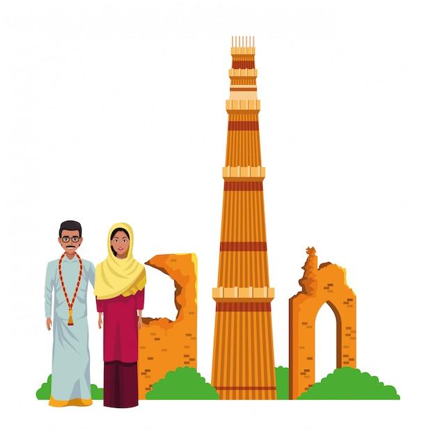 Personagem de desenho animado de avatar de casal indiano Vetor Premium