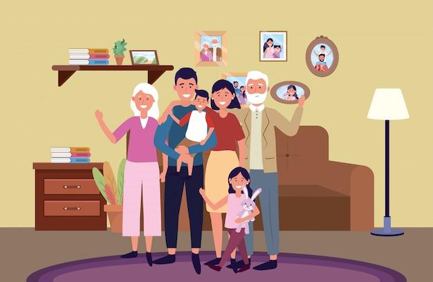 Personagem de desenho animado de avatar de família Vetor Premium