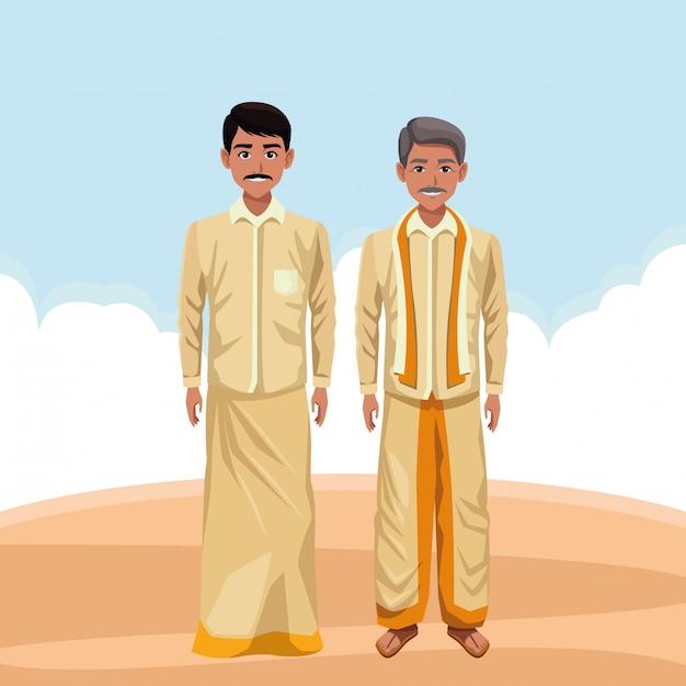 Personagem de desenho animado de avatar de homens indianos Vetor Premium