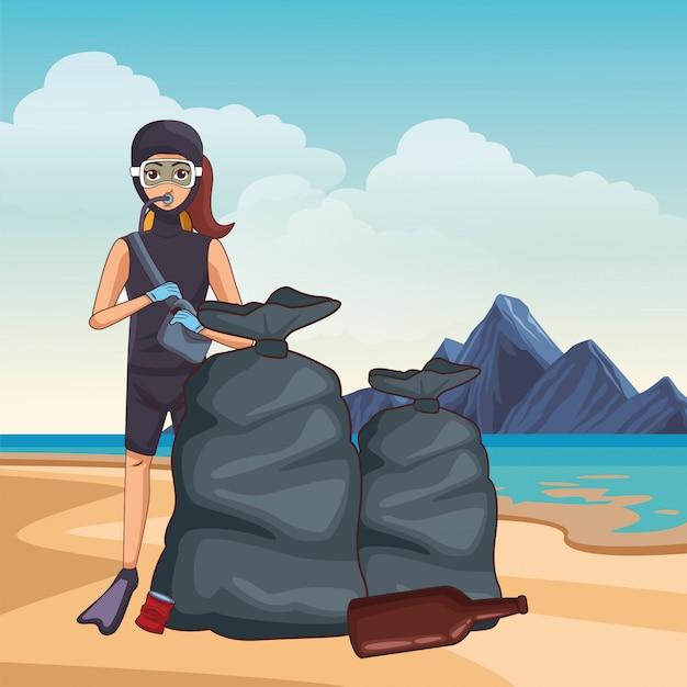 Personagem de desenho animado de avatar de mergulho Vetor grátis