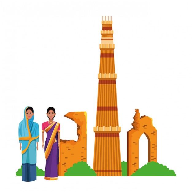 Personagem de desenho animado de avatar de mulheres indianas Vetor Premium