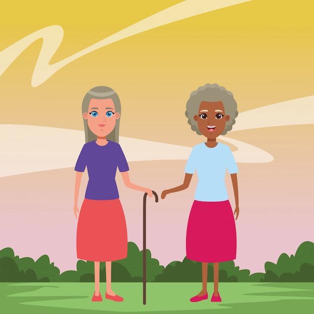 Personagem de desenho animado de avatar de pessoas idosas Vetor grátis